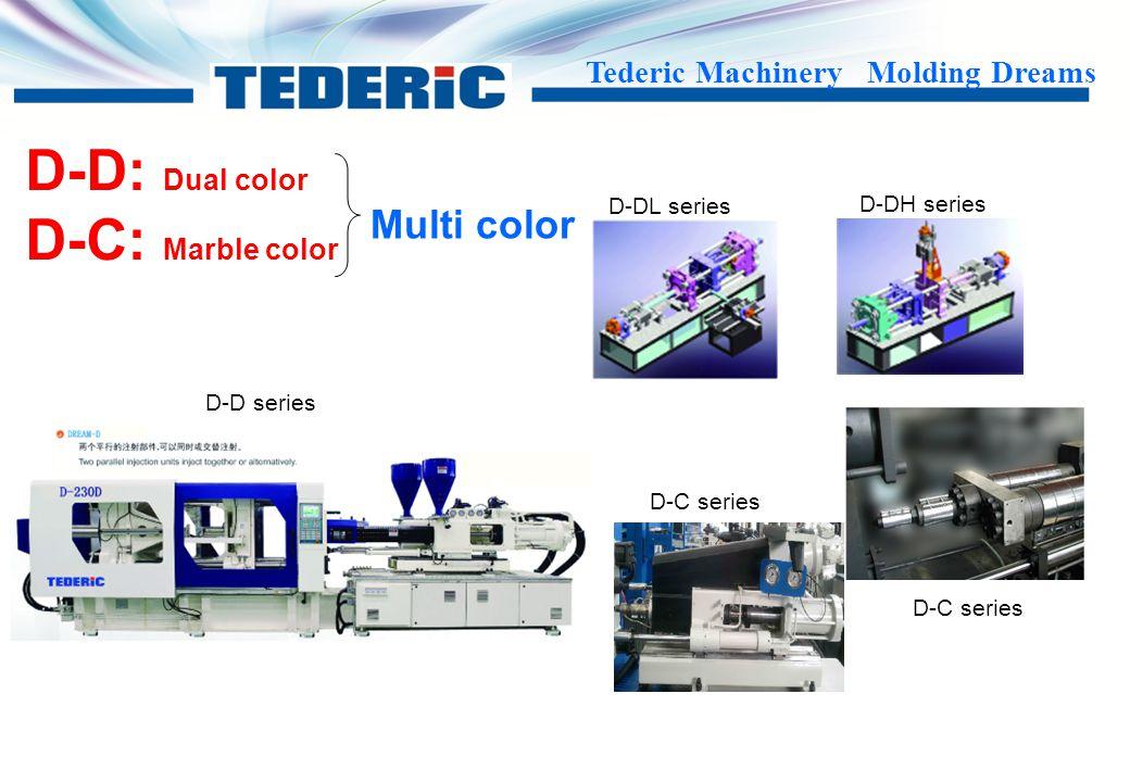 Tederic Machinery Molding Dreams Different special function D-PET Series D-PVC Series D-PPR Series D-BMC Series ……Series D-L Series D-ML Series D-F Series D-MF Series D-M 3C Series