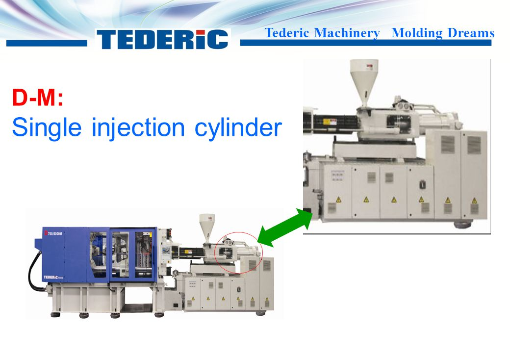 Tederic Machinery Molding Dreams D-J1 : Double stage With low injection pressure Precise Hydraulic shut off nozzle Single cylinder which is more stable and efficient