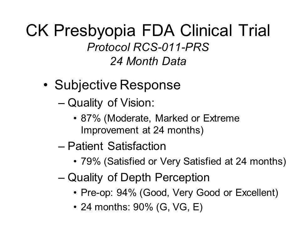 CK Presbyopia FDA Clinical Trial Protocol RCS-011-PRS 24 Month Data Key issue is STABILITY –MRSE over time –Average Keratometry over time –In the Eye treated for Near: UCVA-Near over time UCVA-Distance over time –Binocular UCVA-Distance and Near –Patient's Subjective Perception over time