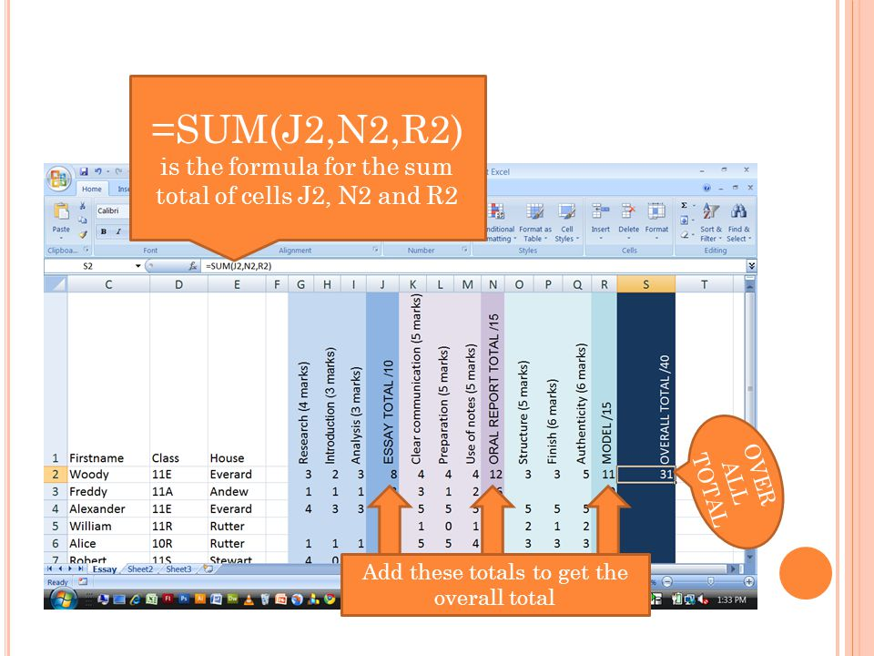 Add these totals to get the overall total =SUM(J2,N2,R2) is the formula for the sum total of cells J2, N2 and R2 OVER ALL TOTAL