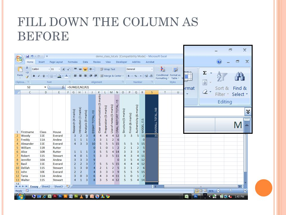 FILL DOWN THE COLUMN AS BEFORE