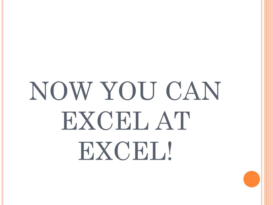 NOW YOU CAN EXCEL AT EXCEL!
