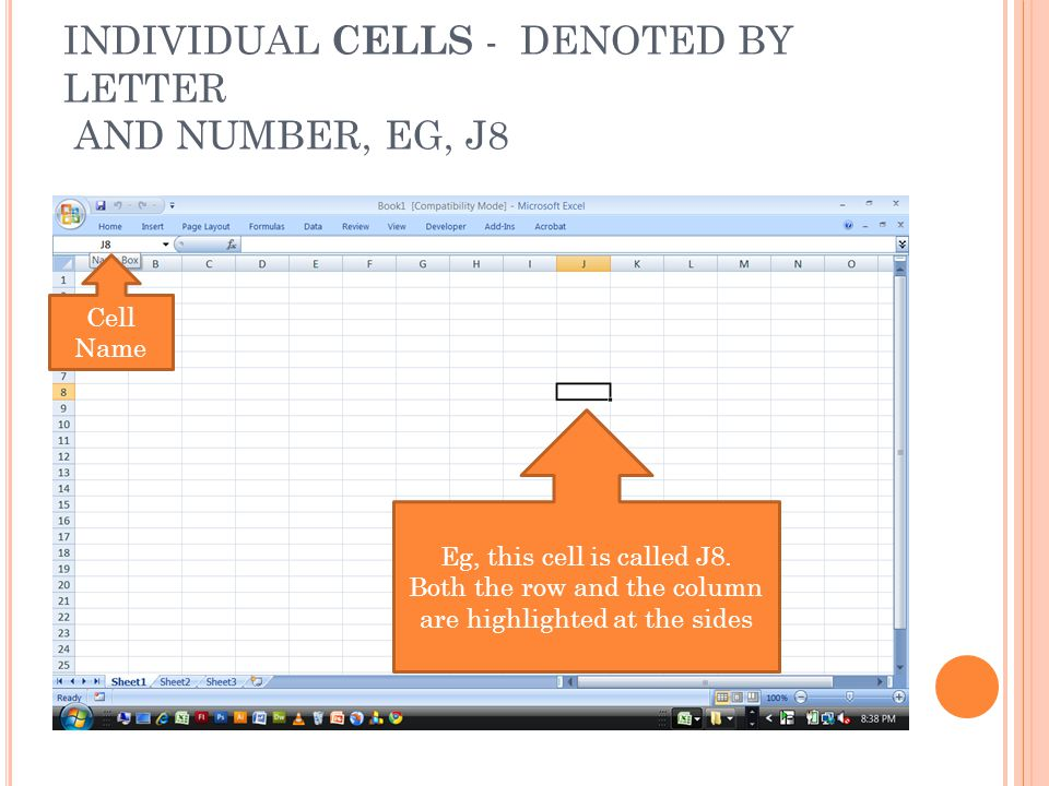 INDIVIDUAL CELLS - DENOTED BY LETTER AND NUMBER, EG, J8 Eg, this cell is called J8.