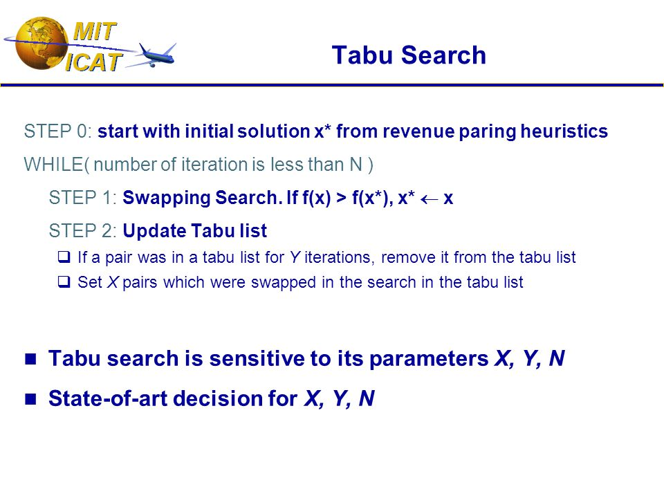 Tabu Search STEP 0: start with initial solution x* from revenue paring heuristics WHILE( number of iteration is less than N ) STEP 1: Swapping Search.