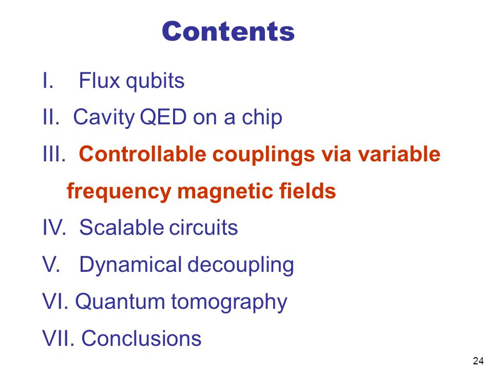 24 Contents I.Flux qubits II. Cavity QED on a chip III.
