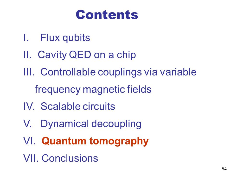 54 Contents I.Flux qubits II. Cavity QED on a chip III.
