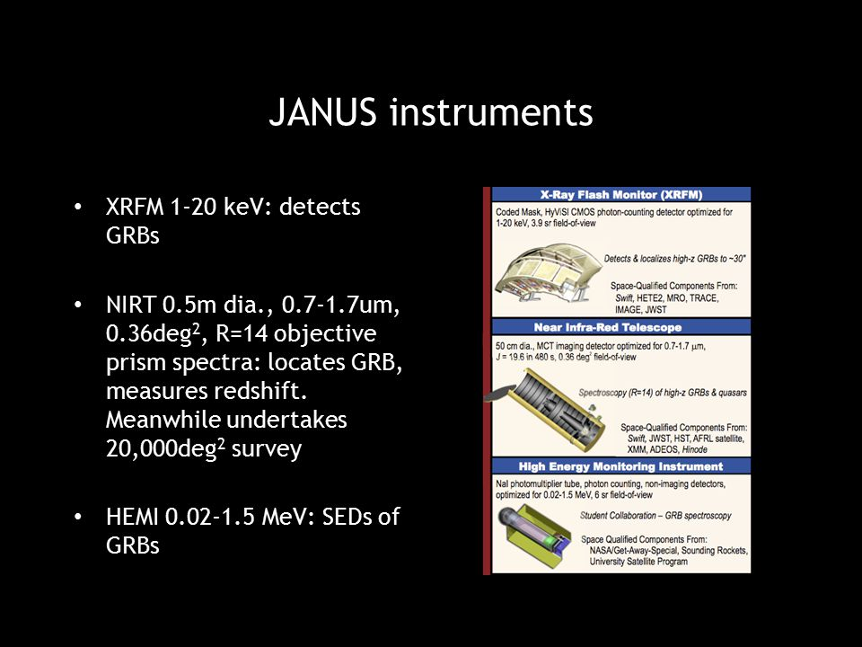 JANUS instruments XRFM 1-20 keV: detects GRBs NIRT 0.5m dia., 0.7-1.7um, 0.36deg 2, R=14 objective prism spectra: locates GRB, measures redshift. Mean