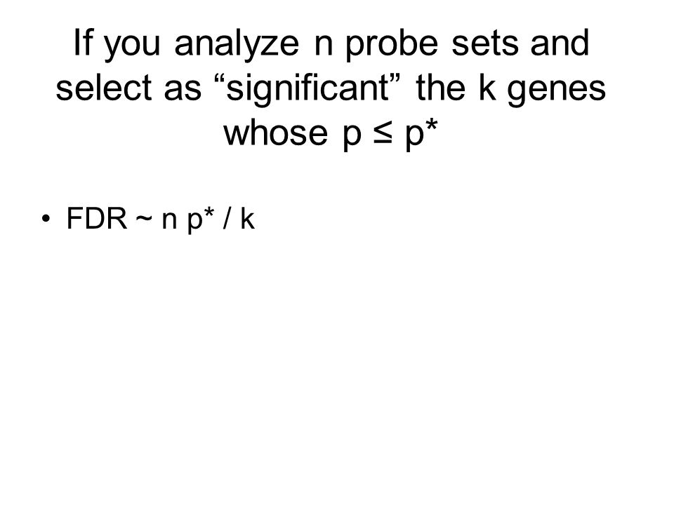 If you analyze n probe sets and select as significant the k genes whose p ≤ p* FDR ~ n p* / k