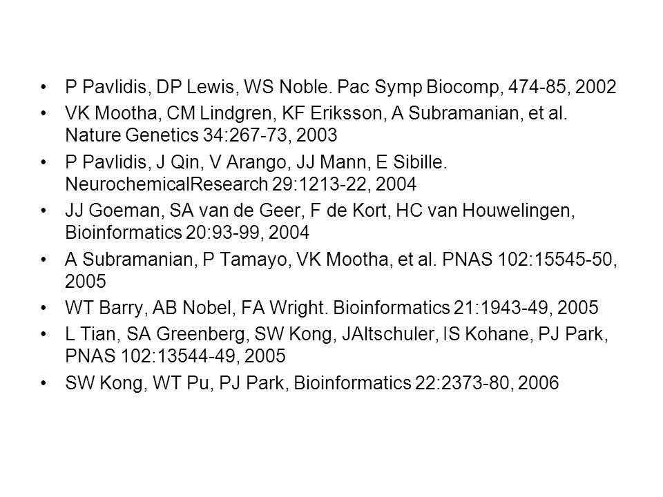 P Pavlidis, DP Lewis, WS Noble.