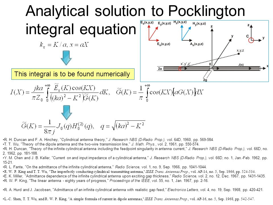 Analytical solution to Pocklington integral equation R.