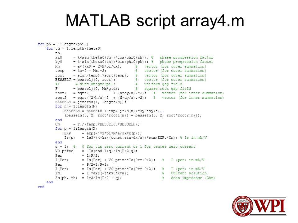 MATLAB script array4.m for ph = 1:length(phi0) for th = 1:length(theta0) th kx0 = k*sin(theta0(th))*cos(phi0(ph)); % phase progression factor ky0 = k*
