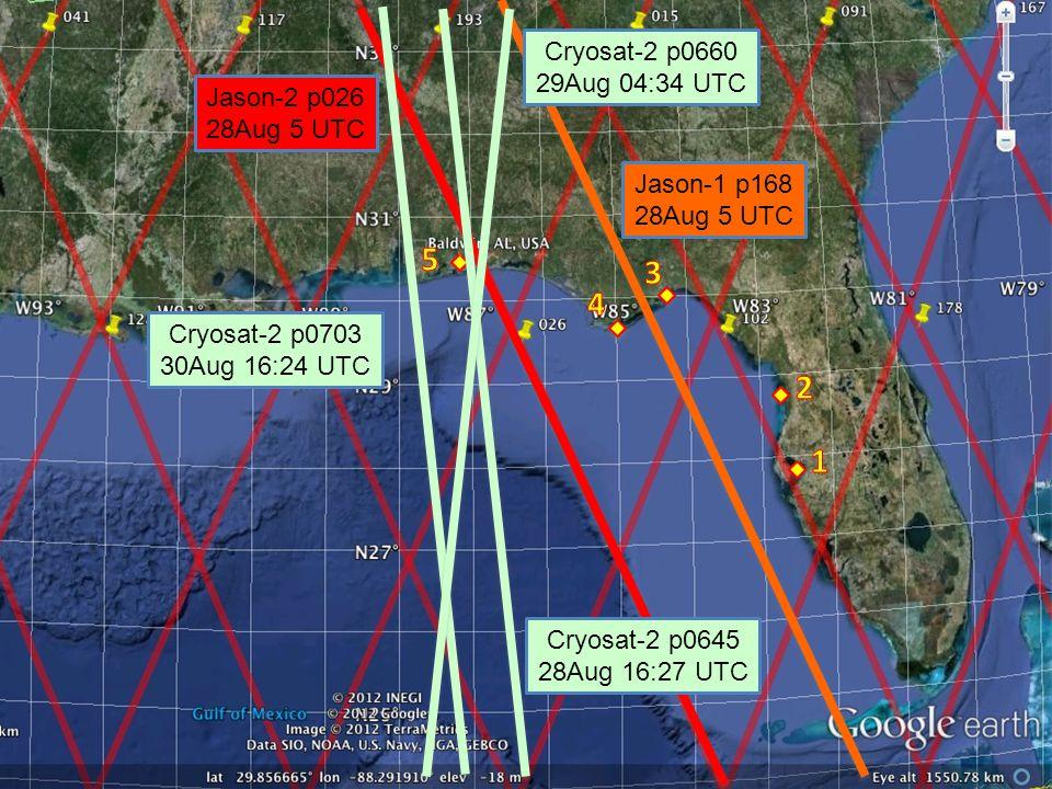 Jason-1 p168 28Aug 5 UTC Jason-2 p026 28Aug 5 UTC ` ` Cryosat-2 p0645 28Aug 16:27 UTC Cryosat-2 p0703 30Aug 16:24 UTC Cryosat-2 p0660 29Aug 04:34 UTC