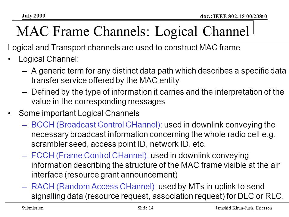 doc.: IEEE 802.15-00/238r0 Submission July 2000 Jamshid Khun-Jush, EricssonSlide 14 MAC Frame Channels: Logical Channel - 1 Logical and Transport channels are used to construct MAC frame Logical Channel: –A generic term for any distinct data path which describes a specific data transfer service offered by the MAC entity –Defined by the type of information it carries and the interpretation of the value in the corresponding messages Some important Logical Channels –BCCH (Broadcast Control CHannel): used in downlink conveying the necessary broadcast information concerning the whole radio cell e.g.