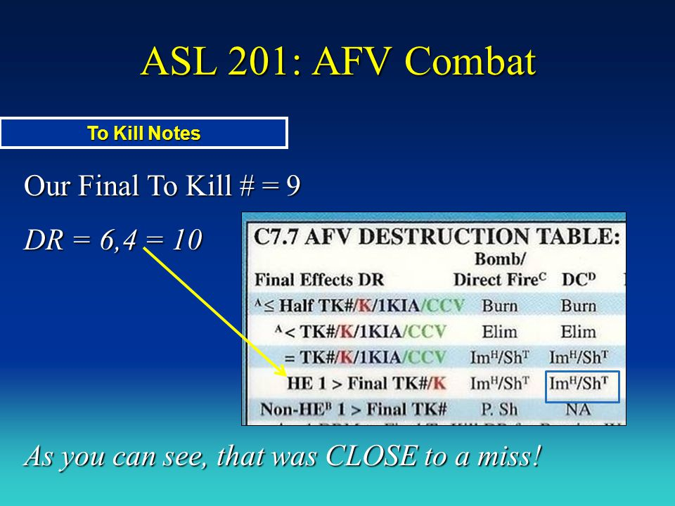 ASL 201: AFV Combat Our Final To Kill # = 9 DR = 6,4 = 10 As you can see, that was CLOSE to a miss! To Kill Notes