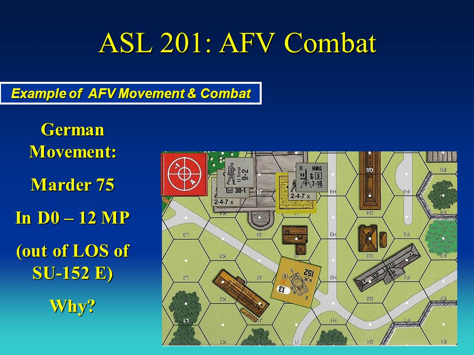 ASL 201: AFV Combat Example of AFV Movement & Combat German Movement: In D0 – 12 MP E1 – 1 MP The SU could attempt motion dr, but it is based on dr < MPs in their LOS.