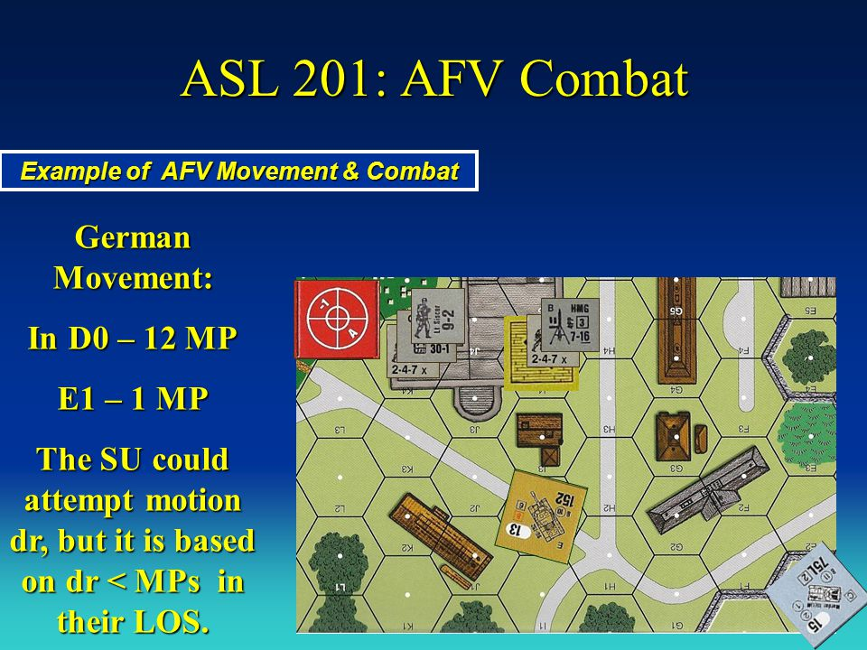 ASL 201: AFV Combat Example of AFV Movement & Combat German Movement: In D0 – 12 MP E1 – 1 MP The SU could attempt motion dr, but it is based on dr <