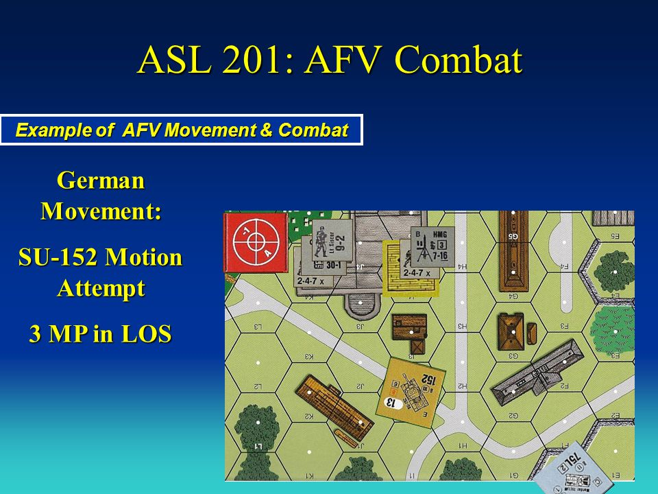 ASL 201: AFV Combat OK – 10 Modified to Hit + 5 DRM What is the Target's DRMs? Advancing Fire