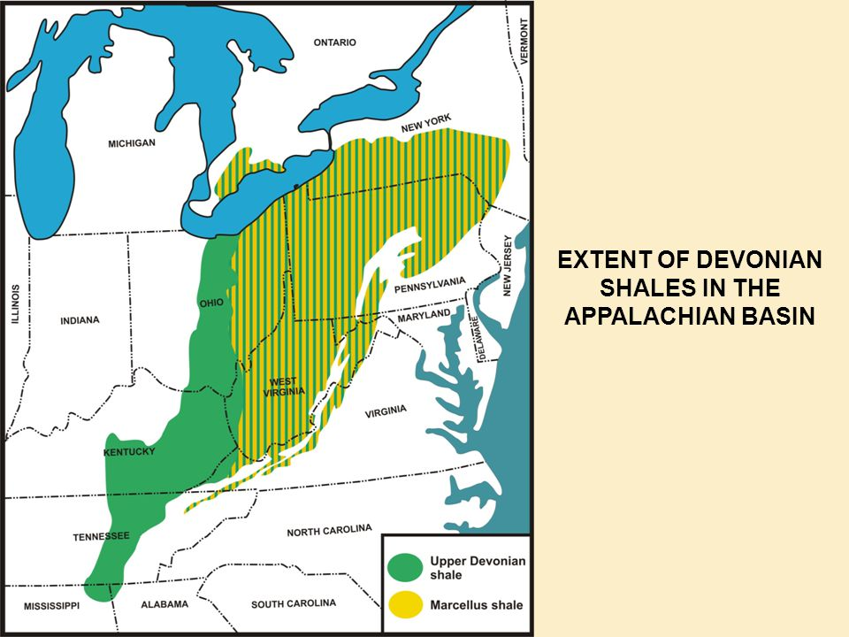 EXTENT OF DEVONIAN SHALES IN THE APPALACHIAN BASIN