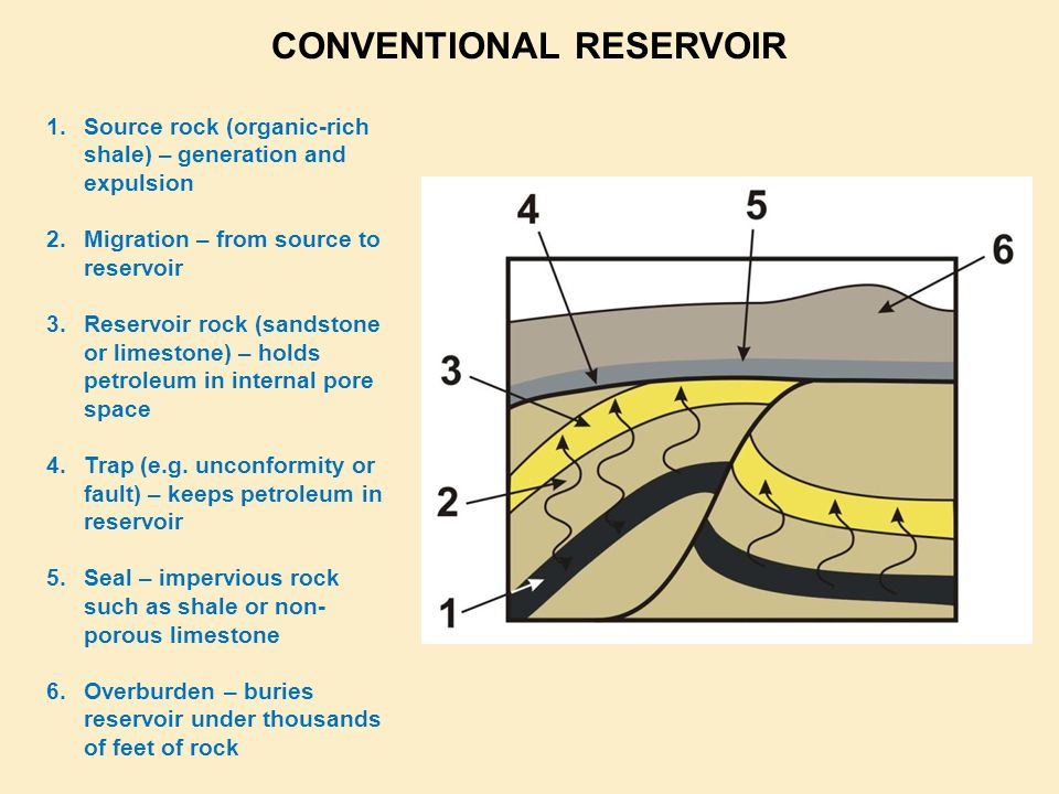1.Source rock (organic-rich shale) – generation and expulsion 2.Migration – from source to reservoir 3.Reservoir rock (sandstone or limestone) – holds petroleum in internal pore space 4.Trap (e.g.