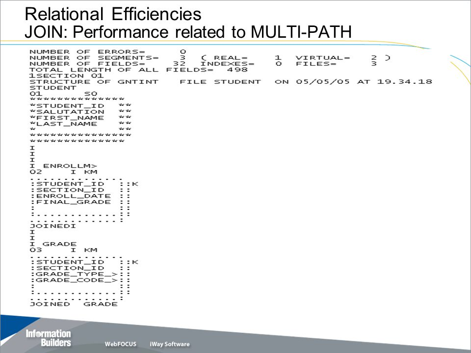 Relational Efficiencies JOIN: Performance related to MULTI-PATH