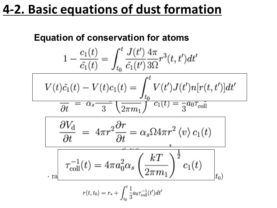 4-2. Basic equations of dust formation Equation of conservation for atoms Equation of grain growth