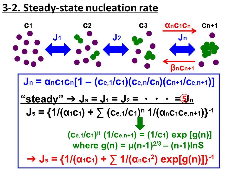 """3-2. Steady-state nucleation rate c1c1 c2c2 c3c3 c n+1 JnJn J1J1 J2J2 J n = α n c 1 c n [1 – (c e,1 /c 1 )(c e,n /c n )(c n+1 /c e,n+1 )] """"steady"""" ➔ J"""
