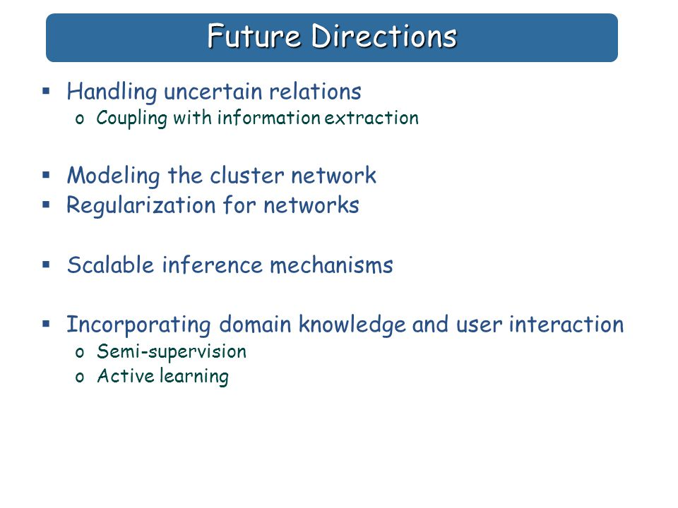 Future Directions  Handling uncertain relations oCoupling with information extraction  Modeling the cluster network  Regularization for networks  Scalable inference mechanisms  Incorporating domain knowledge and user interaction oSemi-supervision oActive learning