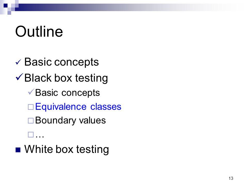 13 Outline Basic concepts Black box testing Basic concepts  Equivalence classes  Boundary values  … White box testing