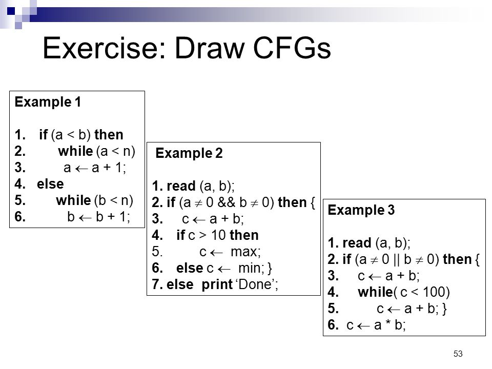 53 Exercise: Draw CFGs Example 1 1.if (a < b) then 2. while (a < n) 3. a  a + 1; 4. else 5. while (b < n) 6. b  b + 1; Example 2 1. read (a, b); 2.