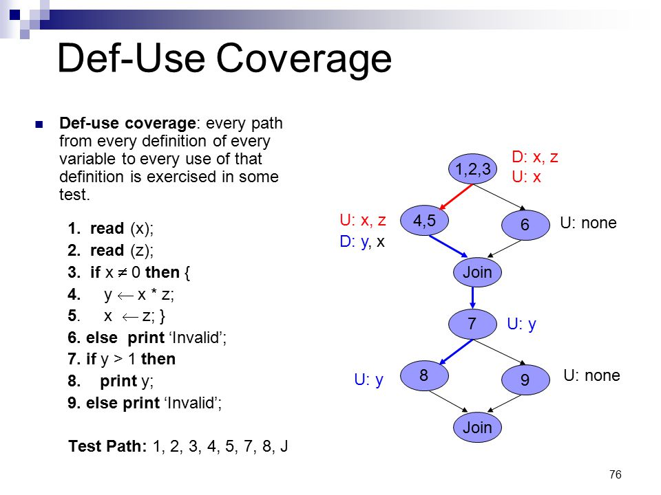 76 Def-Use Coverage Def-use coverage: every path from every definition of every variable to every use of that definition is exercised in some test. 1.