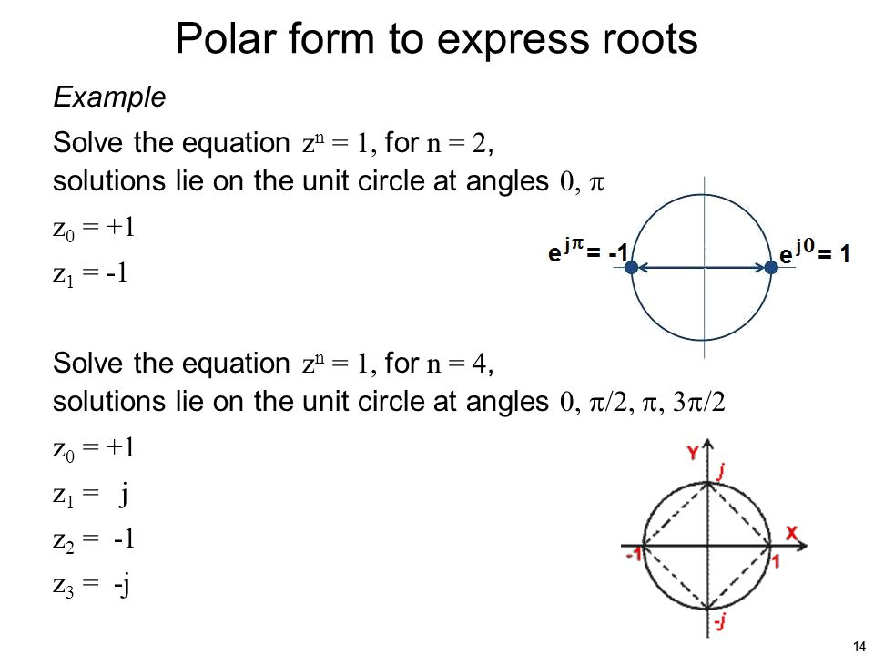 14 Polar form to express roots Example Solve the equation z n = 1, for n = 2, solutions lie on the unit circle at angles 0,  z 0 = +1 z 1 = -1 Solve the equation z n = 1, for n = 4, solutions lie on the unit circle at angles 0,  /2, , 3  /2 z 0 = +1 z 1 = j z 2 = -1 z 3 = -j