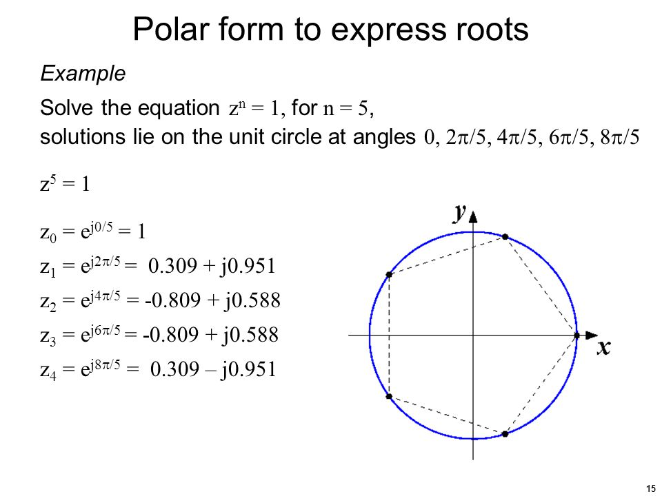 15 Polar form to express roots Example Solve the equation z n = 1, for n = 5, solutions lie on the unit circle at angles 0, 2  /5, 4  /5, 6  /5, 8