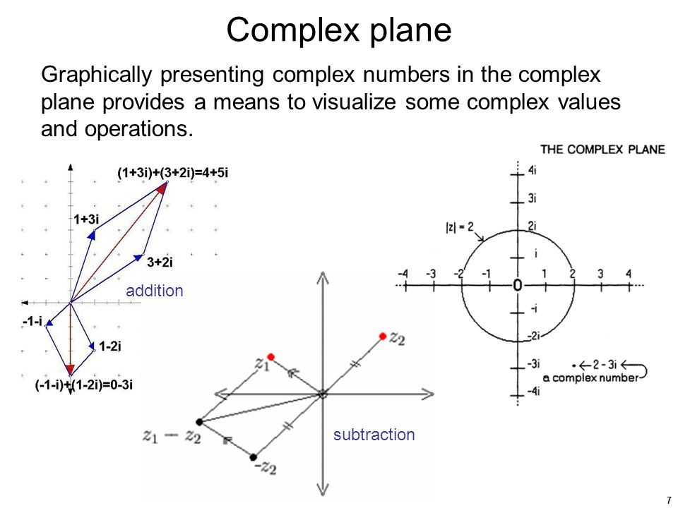 7 Complex plane Graphically presenting complex numbers in the complex plane provides a means to visualize some complex values and operations.