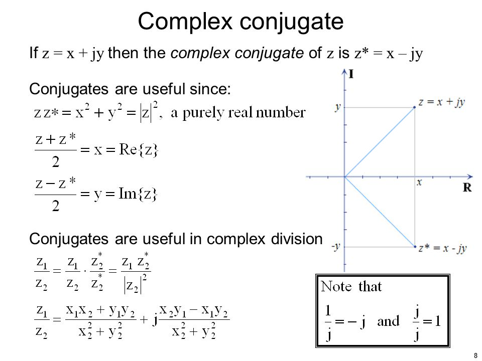 8 Complex conjugate If z = x + jy then the complex conjugate of z is z* = x – jy Conjugates are useful since: Conjugates are useful in complex division