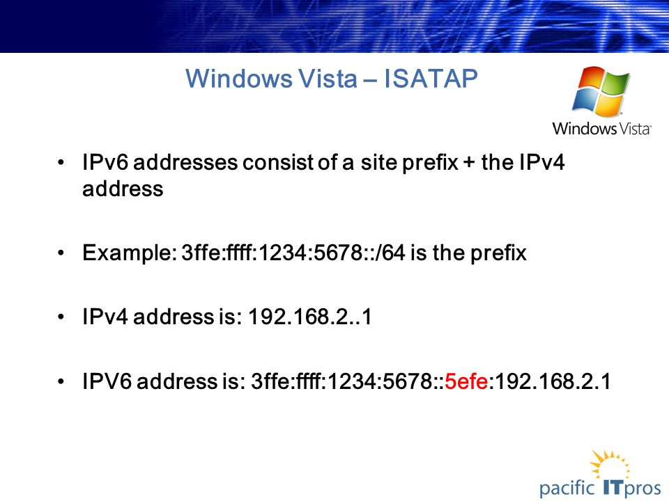 Windows Vista – ISATAP IPv6 addresses consist of a site prefix + the IPv4 address Example: 3ffe:ffff:1234:5678::/64 is the prefix IPv4 address is: 192.168.2..1 IPV6 address is: 3ffe:ffff:1234:5678::5efe:192.168.2.1
