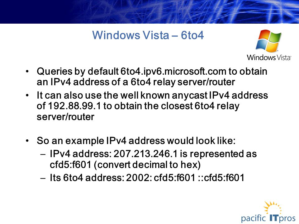 Windows Vista – 6to4 Queries by default 6to4.ipv6.microsoft.com to obtain an IPv4 address of a 6to4 relay server/router It can also use the well known anycast IPv4 address of 192.88.99.1 to obtain the closest 6to4 relay server/router So an example IPv4 address would look like: –IPv4 address: 207.213.246.1 is represented as cfd5:f601 (convert decimal to hex) –Its 6to4 address: 2002: cfd5:f601 ::cfd5:f601