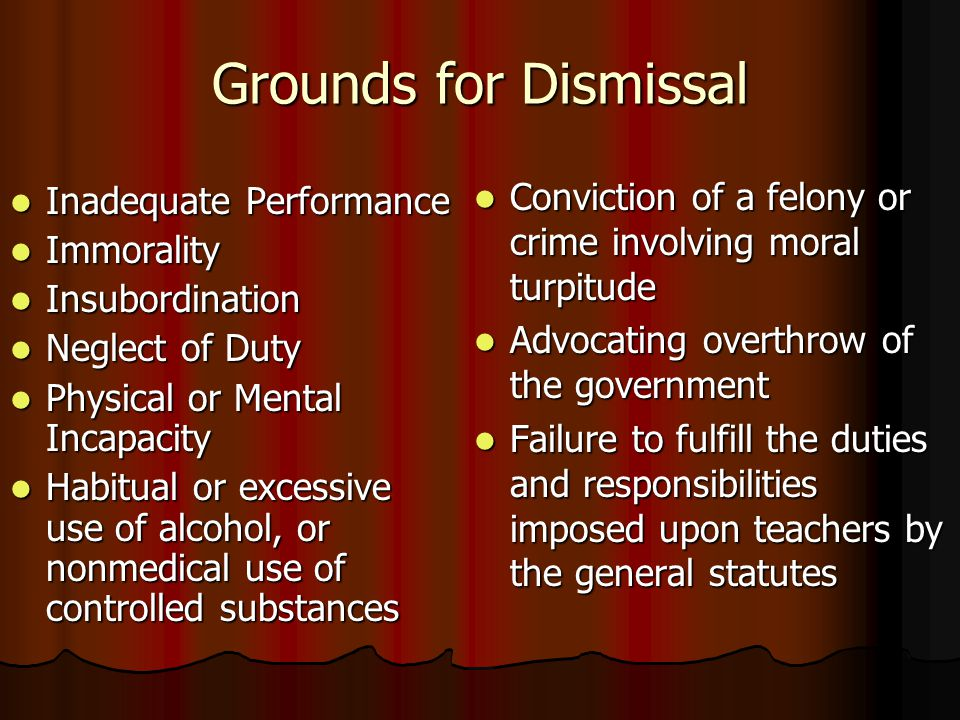 Grounds for Dismissal Inadequate Performance Inadequate Performance Immorality Immorality Insubordination Insubordination Neglect of Duty Neglect of D