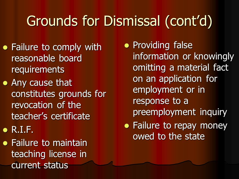 Grounds for Dismissal (cont'd) Failure to comply with reasonable board requirements Failure to comply with reasonable board requirements Any cause tha