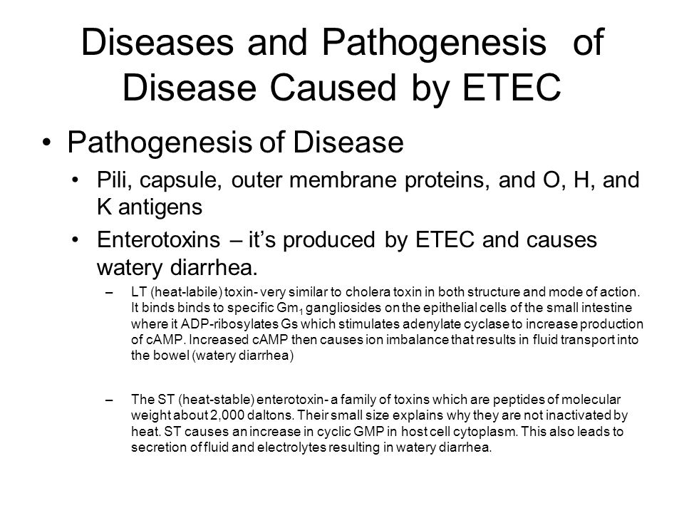 Diseases and Pathogenesis of Disease Caused by ETEC Pathogenesis of Disease Pili, capsule, outer membrane proteins, and O, H, and K antigens Enterotoxins – it's produced by ETEC and causes watery diarrhea.