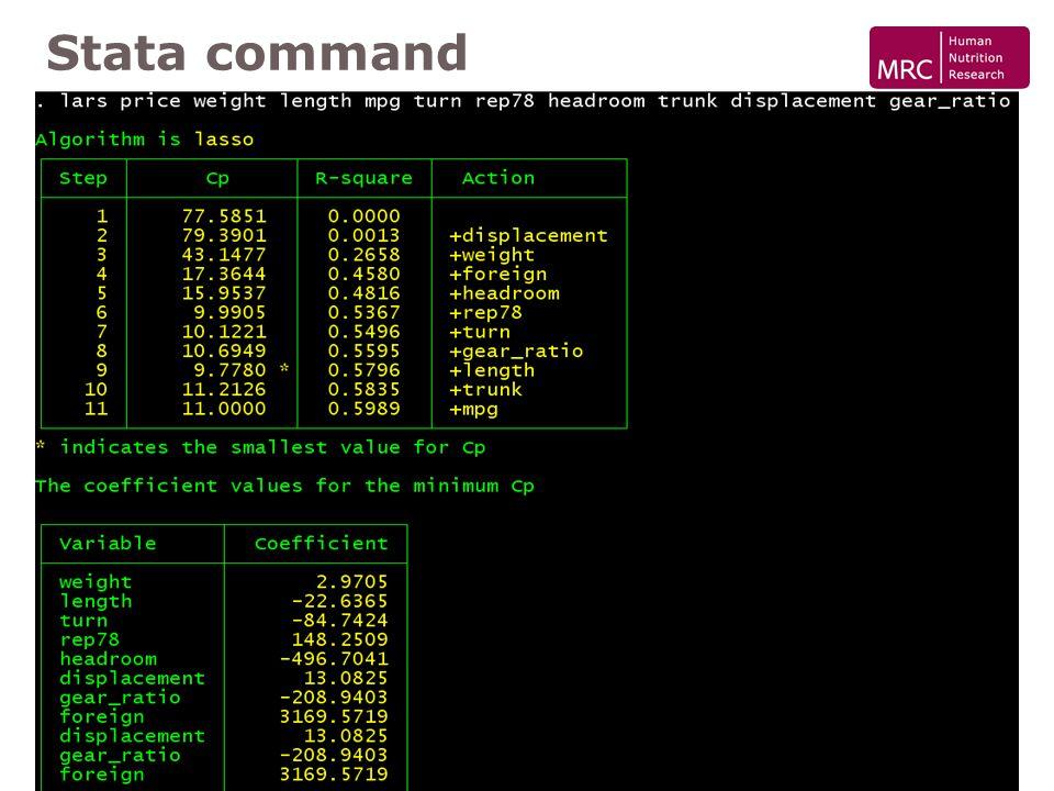 SUG London 2007 Least Angle Regression Stata command