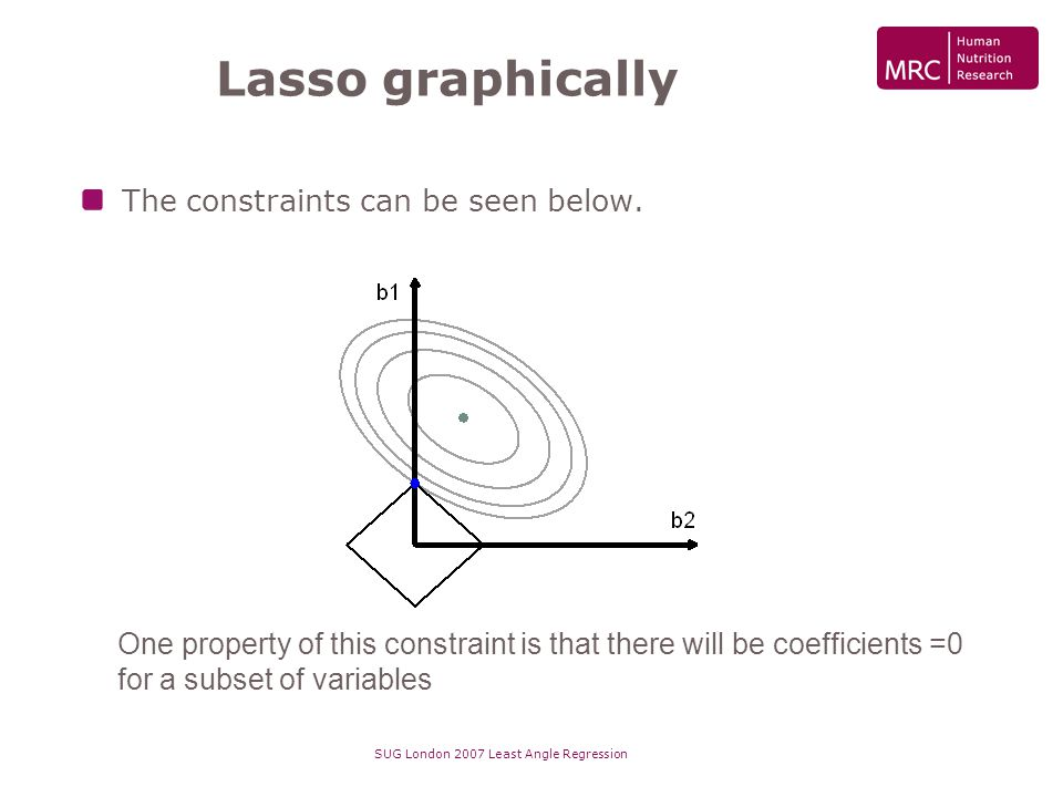 SUG London 2007 Least Angle Regression Lasso graphically The constraints can be seen below. One property of this constraint is that there will be coef