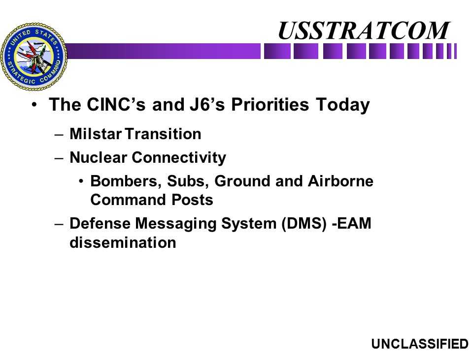 The CINC's and J6's Priorities Today –Milstar Transition –Nuclear Connectivity Bombers, Subs, Ground and Airborne Command Posts –Defense Messaging Sys