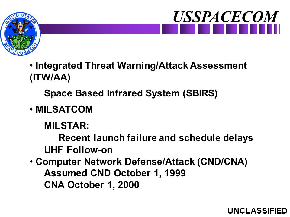 USSPACECOM UNCLASSIFIED Integrated Threat Warning/Attack Assessment (ITW/AA) Space Based Infrared System (SBIRS) MILSATCOM MILSTAR: Recent launch fail