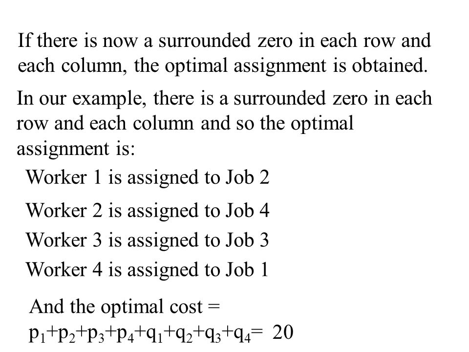 If there is now a surrounded zero in each row and each column, the optimal assignment is obtained.