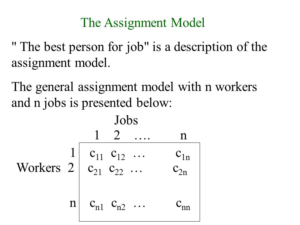 The Assignment Model The best person for job is a description of the assignment model.
