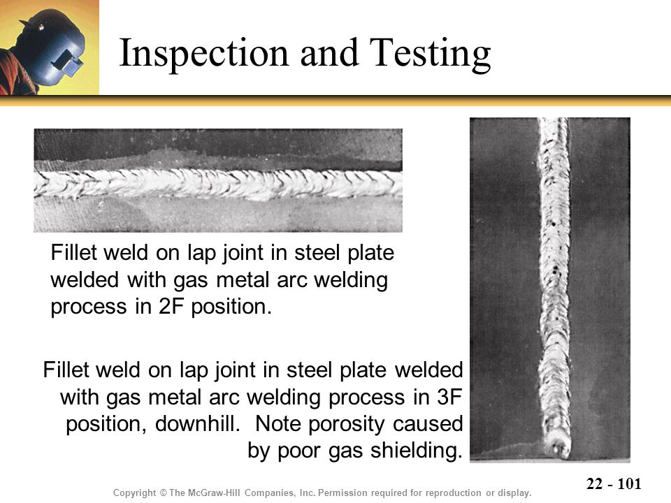 22 - 101 Inspection and Testing Fillet weld on lap joint in steel plate welded with gas metal arc welding process in 2F position.