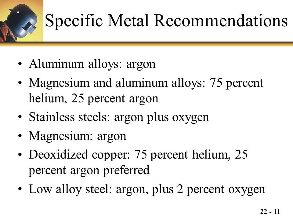 22 - 11 Specific Metal Recommendations Aluminum alloys: argon Magnesium and aluminum alloys: 75 percent helium, 25 percent argon Stainless steels: arg