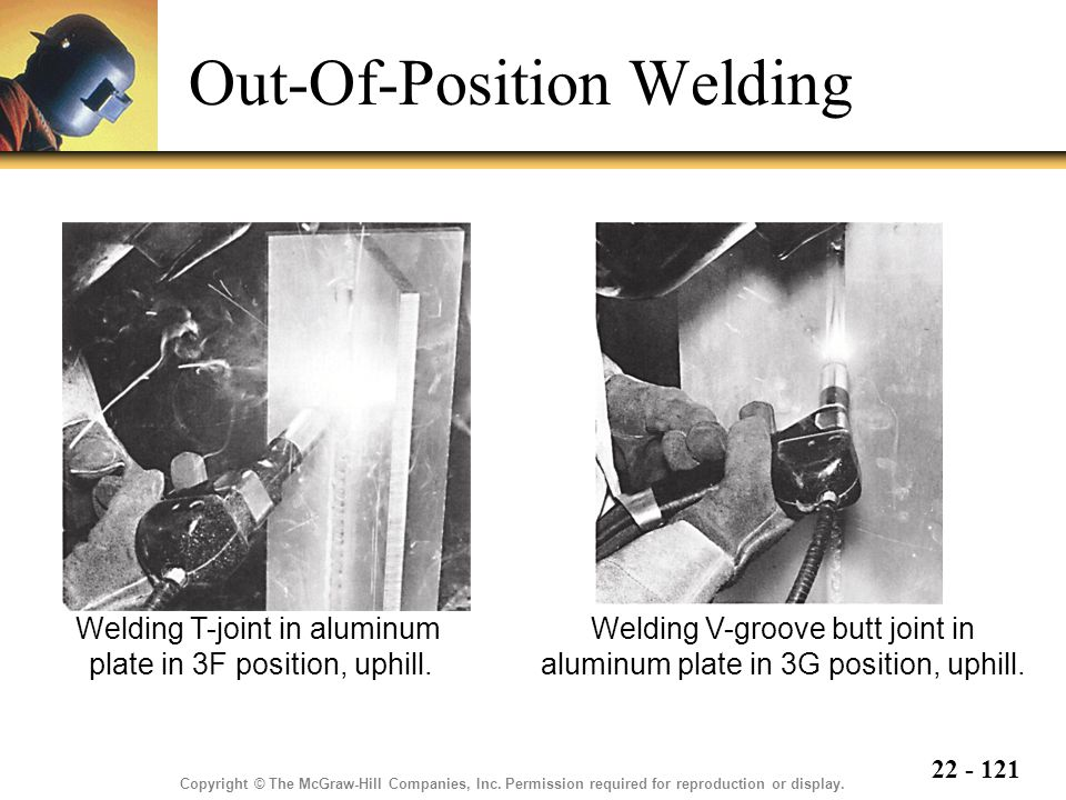 22 - 121 Out-Of-Position Welding Copyright © The McGraw-Hill Companies, Inc.