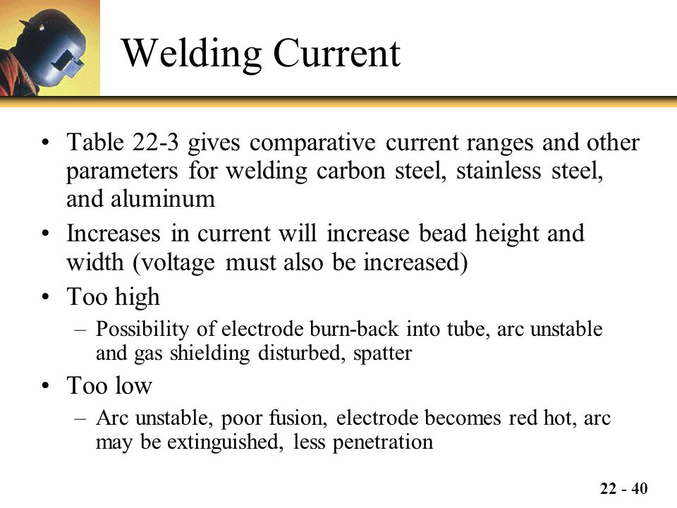 22 - 40 Welding Current Table 22-3 gives comparative current ranges and other parameters for welding carbon steel, stainless steel, and aluminum Increases in current will increase bead height and width (voltage must also be increased) Too high –Possibility of electrode burn-back into tube, arc unstable and gas shielding disturbed, spatter Too low –Arc unstable, poor fusion, electrode becomes red hot, arc may be extinguished, less penetration