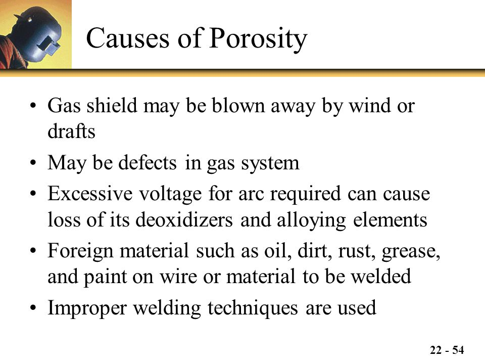 22 - 54 Causes of Porosity Gas shield may be blown away by wind or drafts May be defects in gas system Excessive voltage for arc required can cause loss of its deoxidizers and alloying elements Foreign material such as oil, dirt, rust, grease, and paint on wire or material to be welded Improper welding techniques are used
